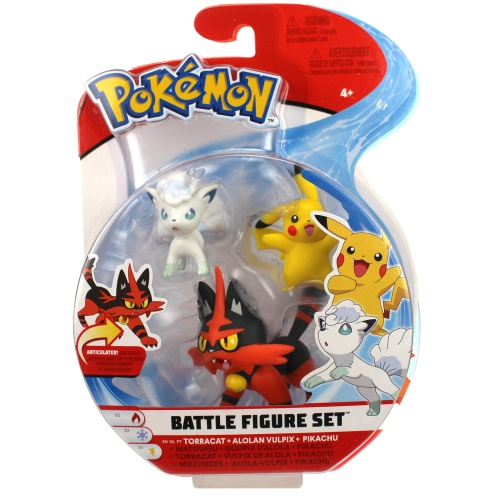 Pokemon Battle Figure Set Miezunder, Alola-Vulpix und Pikachu