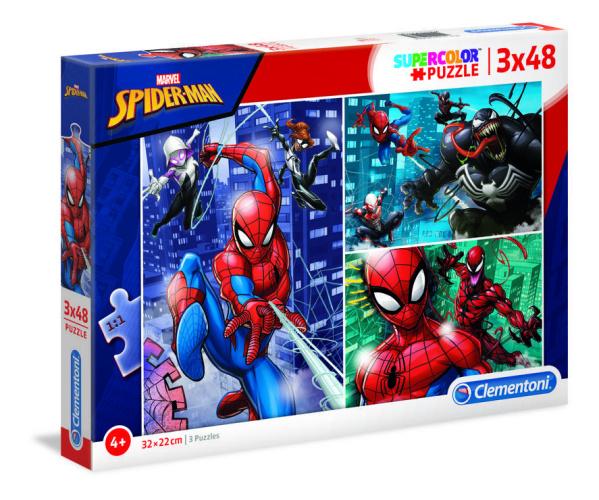 Clementoni 25238 Marvel Spider-Man 3x48 Teile Supercolor Puzzle