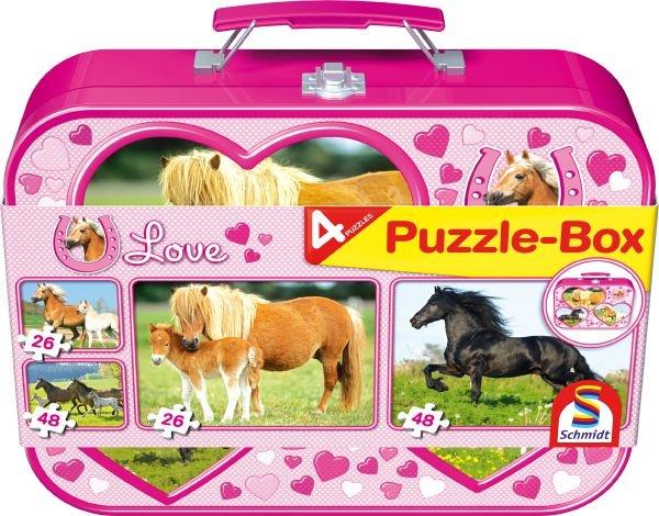 Schmidt 55588 Pferde 2x26, 2x48 Teile Puzzle-Box im Metallkoffer