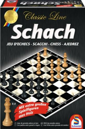 Schmidt 49082 Classic Line, Schach, mit extra großen Spielfiguren Familienspiel - Classic Line