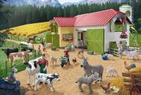 Schmidt 56189 Ein Tag auf dem Bauernhof 40 Teile Kinderpuzzle (+Zusatz Schleich)