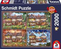 Schmidt 58345 Jahreszeiten Haus 2000 Teile Puzzle Panorama