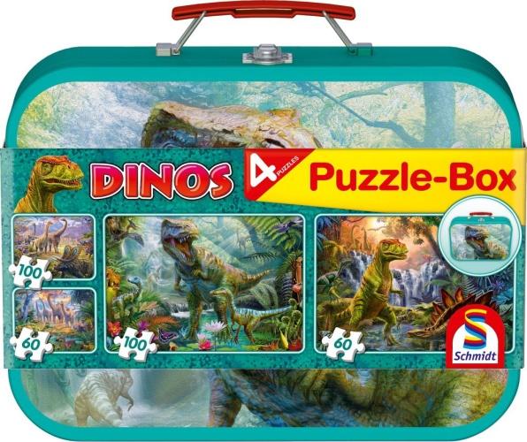 Schmidt 56495 Dinos 2x60, 2x100 Teile Puzzle-Box im Metallkoffer