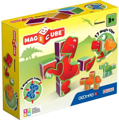 Geomag 0134 Magicube Dinosaurs Magnetwürfel Magnetisches Konstruktionssystem
