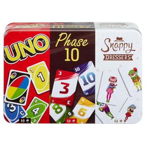 Mattel FFK01 Kartenspiele Spielesammlung in Sammlerdose UNO, Phase 10, Snappy Dressers