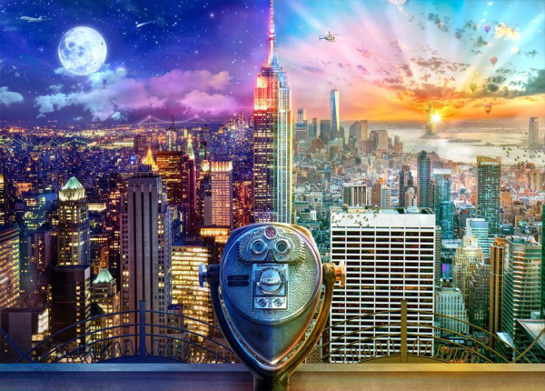 Schmidt Spiele 59905 New York Night and Day 1000 Teile Puzzle