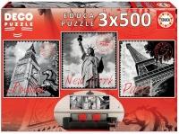 Educa 17096 Grosse Städte 3x500 Teile Deko Puzzle