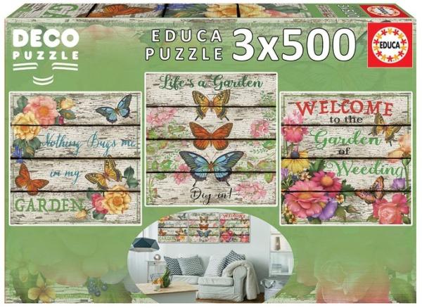 Educa 17965 Landleben Garten 3x500 Teile Deko Puzzle