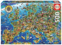 Educa 17962 Verrückte Europakarte 500 Teile Puzzle