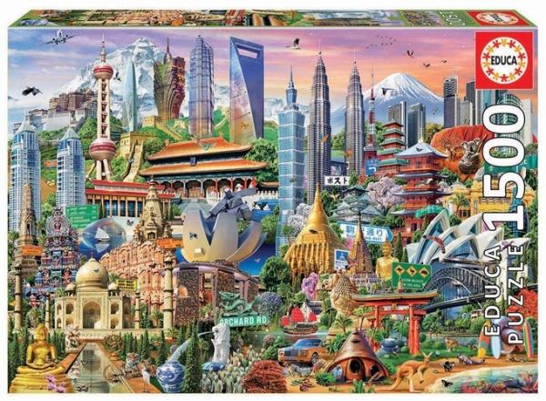 Educa 17979 Wahrzeichen Asien 1500 Teile Puzzle