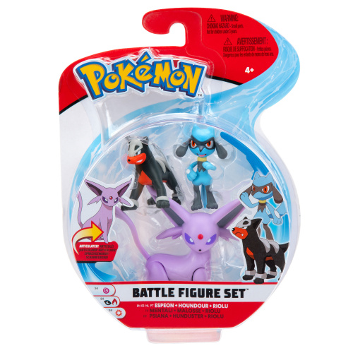 Pokemon Battle Figure Set Psiana, Hunduster und Riolu