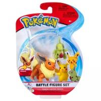 Pokemon Battle Figure Set Flamara + Larvitar + Pikachu