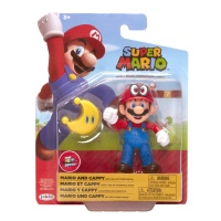 Super Mario Figur Mario und Cappy mit gelben Power-Mond...