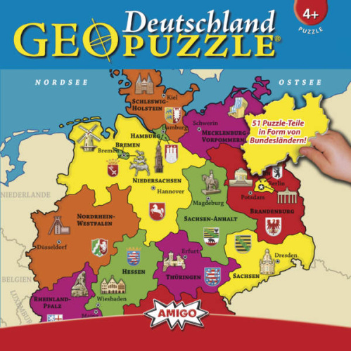 Amigo GeoPuzzle Deutschland 51 Teile Puzzle